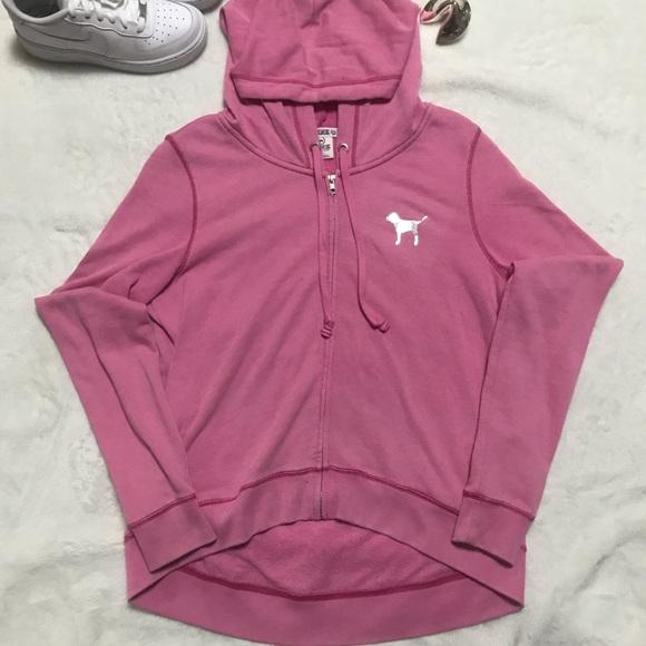 e58e090ef Victoria's Secret Tops | Vs Pink Full Zip Hoodie Sweatshirt Light ...